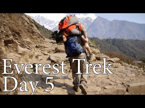 Everest Trek in Nepal, April 2013 – Day 5 – Monju to Lukla and a fireman lift on the trail!