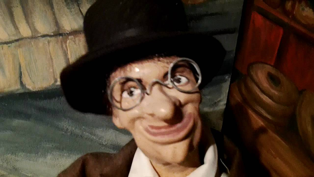 Funny looking man puppet in Museum of Animated Puppets in Lyon