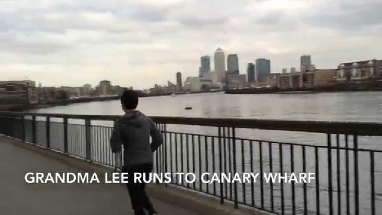 Grandma Lee runs Rocky style to Canary Wharf