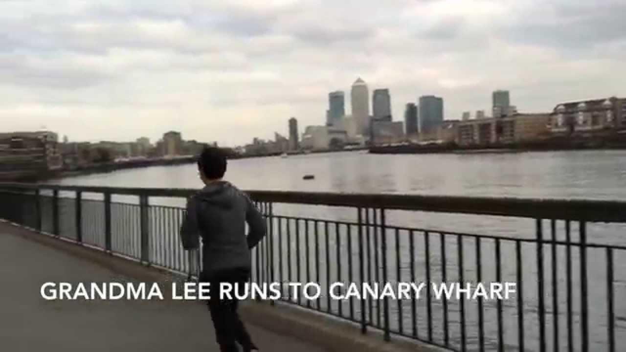 Grandma Lee runs Rocky style to Canary Wharf