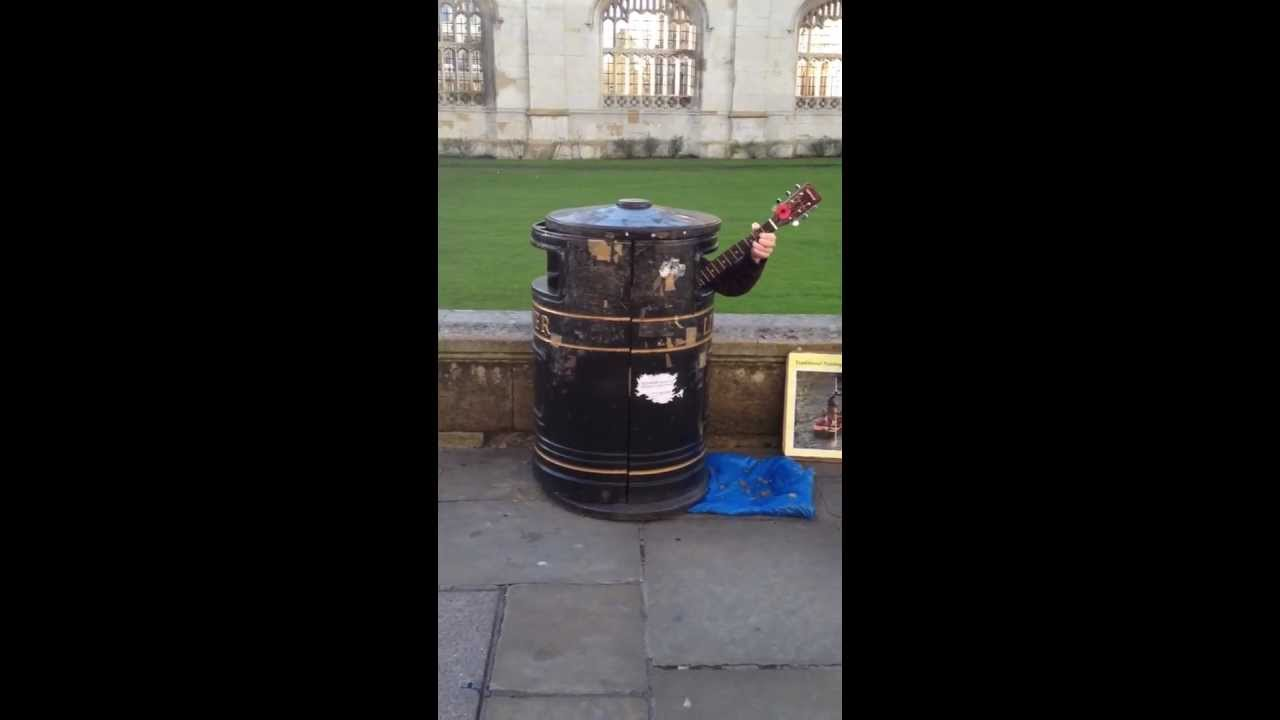 Guitar playing and singing bin in Cambridge