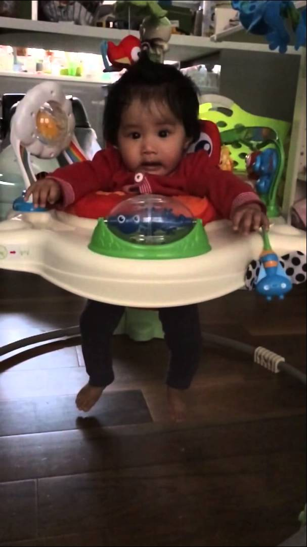 Slowmo – Baby on Jumperoo – Squeals like humpback whale!
