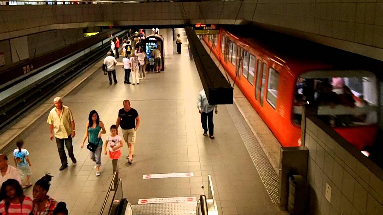 Walking inside the Metro system in Lyon
