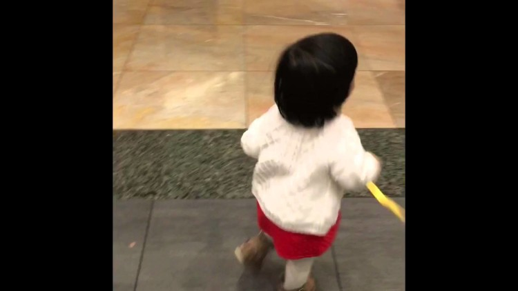 Baby Mistreats her Dummy in the Shopping Mall